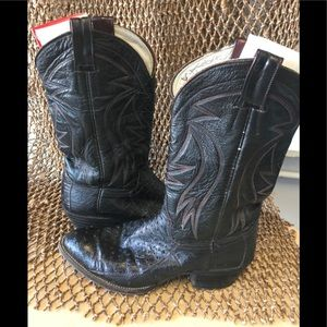 Dan post custom ostrich black boots size 9